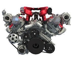 3D model Ferrari 488 GTB Twin Turbocharged V8 Engine