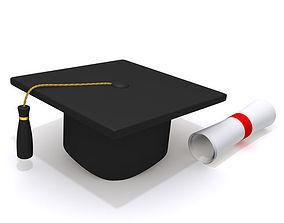 3D Graduation Cap and Diploma