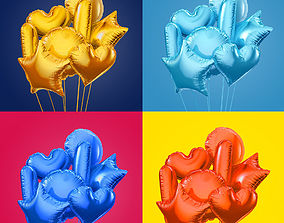 3D Colorful foil balloons