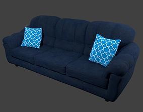3D asset Couch and Pillows - Blue Linen