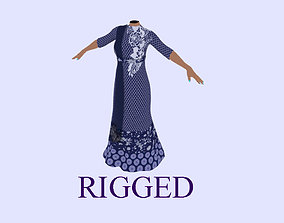 3D asset Indian Dress - rigged on body