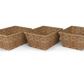 Wood Basket Decoration 3D model