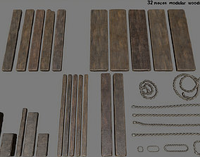 3D asset woods and rope