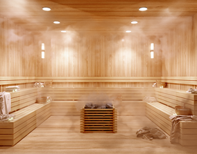 Realistic Sauna Room with steam effect 3D model