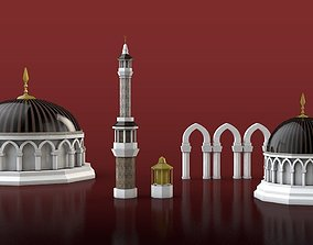 Set of Islamic Architecture Minara Dome Arch - 3D model 1