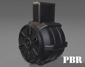 3D asset Round Drum Magazine - Weapon Attachment - PBR - 2