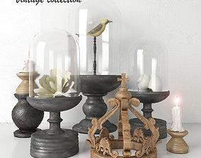 3D model wood Vintage collection - Decorative Set 3