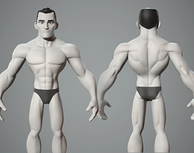 Cartoon male character base mesh 3D model disney