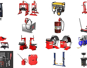 3D Autoservice Garage Machine and Tools Pack