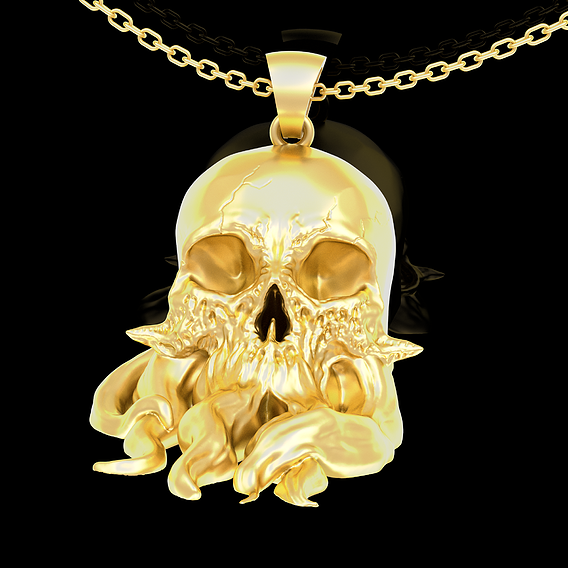 Skull with tentacles Pendant jewelry Gold 3D print model
