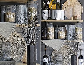 3D Kitchen decor set shelves