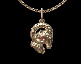 silver 3D print model Aries pendant