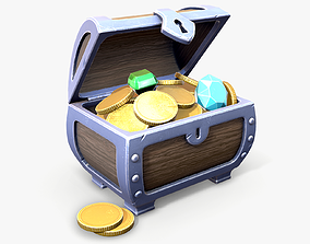 3D asset Stylized Treasure Chest lowpoly