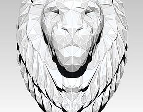 Printable Lion head bust Lowpoly Style 3D print