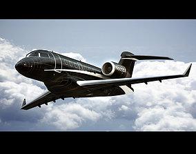 3D asset Bombardier Challenger 605 Private Black