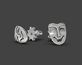 3D printable model Mask stud earrings Comedy
