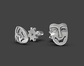 3D print model Mask stud earrings Comedy