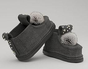 shoes felt boots POM POM 3D printable model