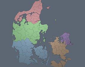 Denmark - Regions and Roads 3D model