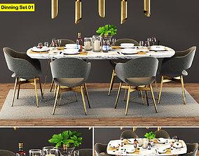 Modern Dinning Table Set 01 3D model