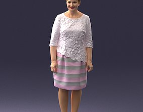 Middle-aged woman in white blouse 0107 3D Print Ready