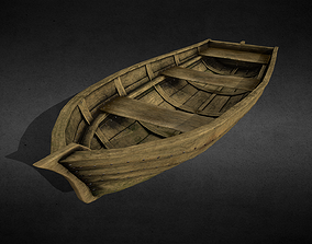 Wooden Boat 3D model game-ready unrealengine
