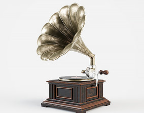 Vintage gramophone 3D model metal