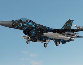 low-poly F 16 3D model