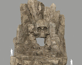 skull cave cliff 3D asset low-poly
