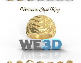 Gold Ring - Vertebrae Style - 3D Printable Gold Cast