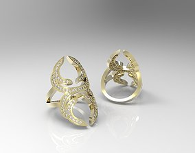 Geometric ring with diamonds 3D print model