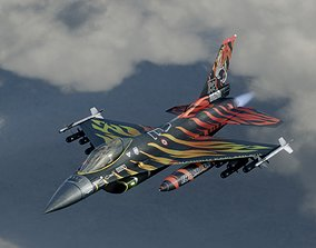 F16C Turkey Squad 192 Tigers 3D asset animated