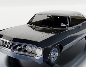 Vintage Classic Car Chevrolet Impala 1967 PBR 3D asset 1