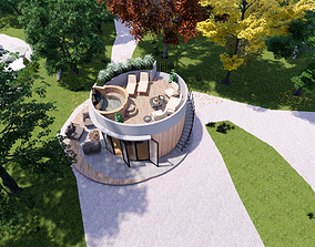 3D model glamping pod with fireplace and hot tube on roof