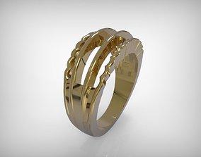 Jewelry Golden Ring Wavy Edges 3D printable model