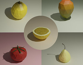 Low poly fruits pack-5 3D