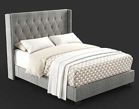 3D model Diamond Tufted Wingback Bed in Grey tufted