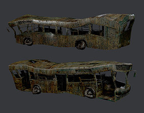 Apocalyptic Damaged Destroyed Vehicle Bus Game 3D model 1
