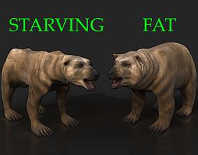 3D model 2 Bears - bony skinny starving ravenous 2