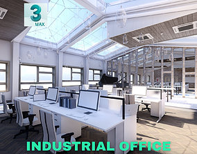 Industrial Office on Attic with Skylights Scene low-poly 2