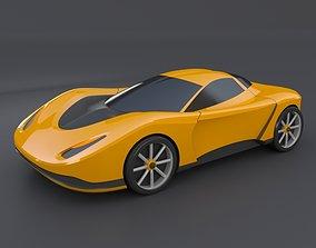 cad 3D print model Yellow toy car concept