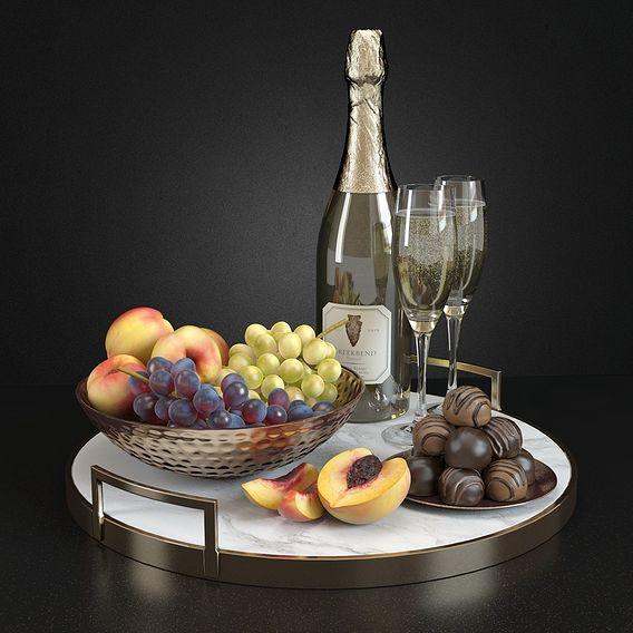 3D Model - Glamorous Champagne & Fruit Set