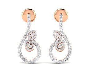 Women earrings 3dm stl render detail gold gem