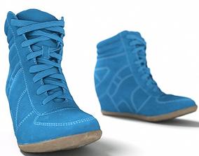 3D model Blue Wedge Boot