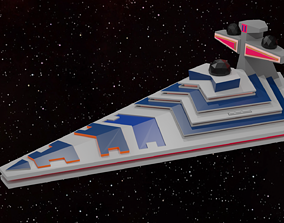 Low Poly Starship 3D asset