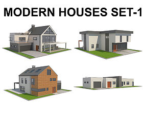Modern House Set 1 3D asset