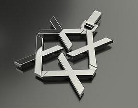 3D printable model Pinwheel Letter X Necklace