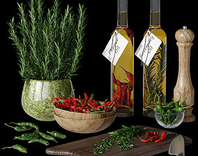 knife 3D Kitchen decorative set