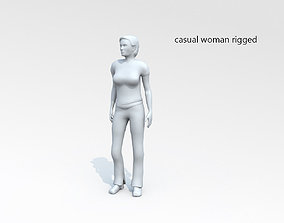 3D asset Casual woman rigged lowpoly 01