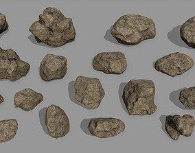 mountain Rock Set 3D model game-ready
